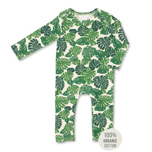 Tropical leaf print Jumpsuit. 100% organic cotton