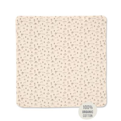 Animal Yoga Print Soothing Blanket. 100% organic cotton
